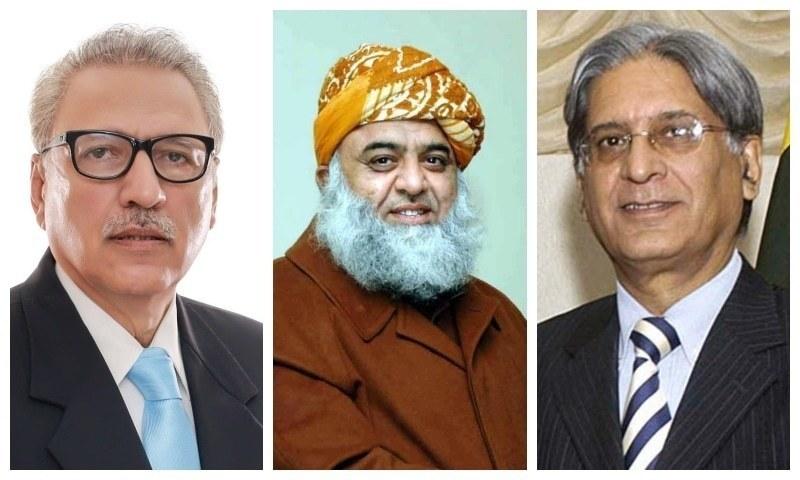 (L-R) Arif Alvi of PTI, JUI-F chief Fazlur Rehman and Aitzaz Ahsan of the PPP.