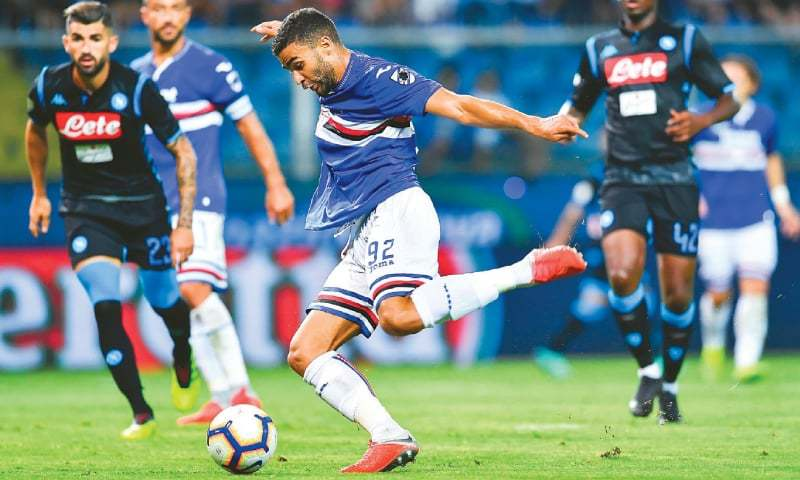 GENOA: Sampdoria's Gregoire Defrel shoots to score during the Serie A match against Napoli at the Luigi Ferraris Stadium .—AP
