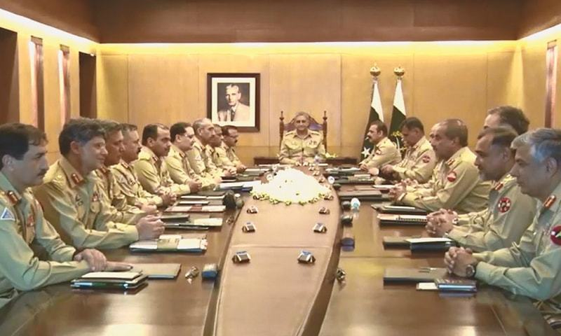 CHIEF of the Army Staff Gen Qamar Bajwa chairing the 213th corps commanders conference at the General Headquarters on Tuesday.—APP