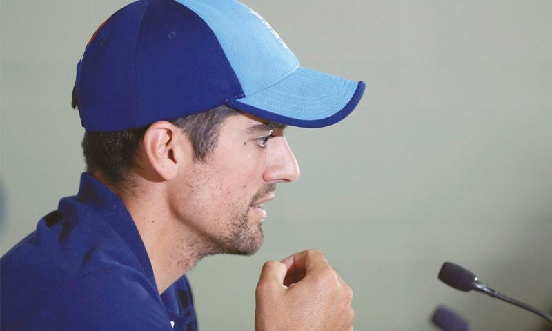 ENGLAND opener Alastair Cook addresses a press conference  on Wednesday.—Reuters