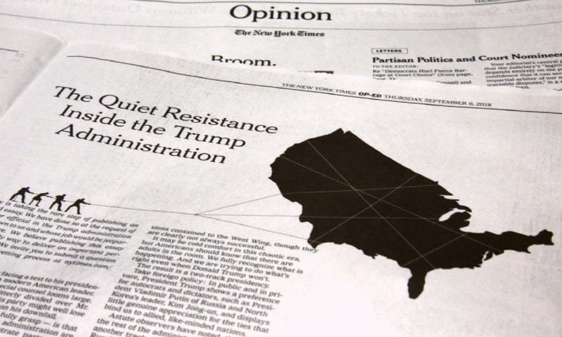 This photo shows an anonymous opinion piece in The New York Times on Thursday.—AP