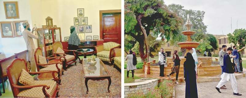 VISITORS take pictures in one of the rooms of Governor House on Friday as portraits of the Quaid, Khawaja Nazimuddin and other luminaries can be seen on the walls while (right) people take a tour of the building's expansive lawns.—Fahim Siddiqi / White Star