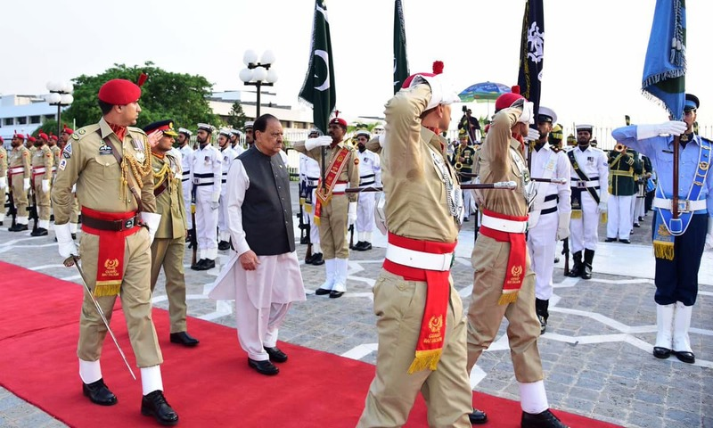 Outgoing President Mamnoon Hussain was given guard of honour by a smartly turned out contingent of the armed forces. —PID
