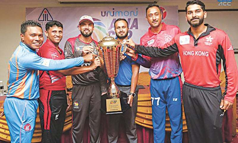 Captains of six teams which competed in the Asia Cup qualifying tournament in Malaysia