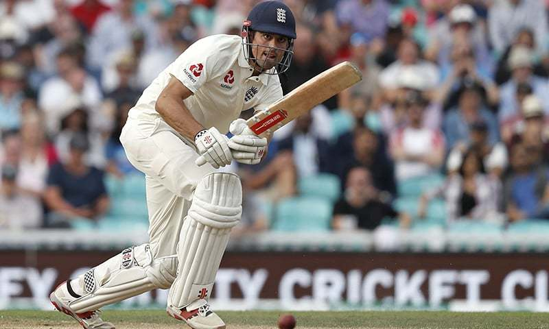England's Alastair Cook plays a shot, batting in his final Test Match Innings, during play on the third day of the fifth Test cricket match between England and India at The Oval in London. —AFP