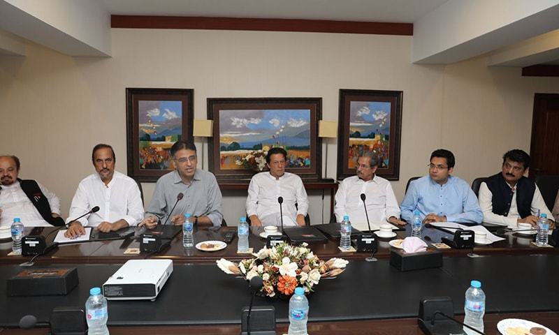 Prime Minister Imran Khan presides over a media strategy meeting in Banigala, Islamabad. —Photo: PTI