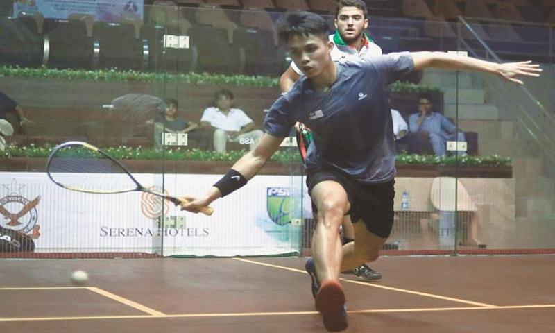 ISLAMABAD: Players in action during the main round of CAS International Squash Tournament at the Mushaf Squash Complex on Monday.—APP