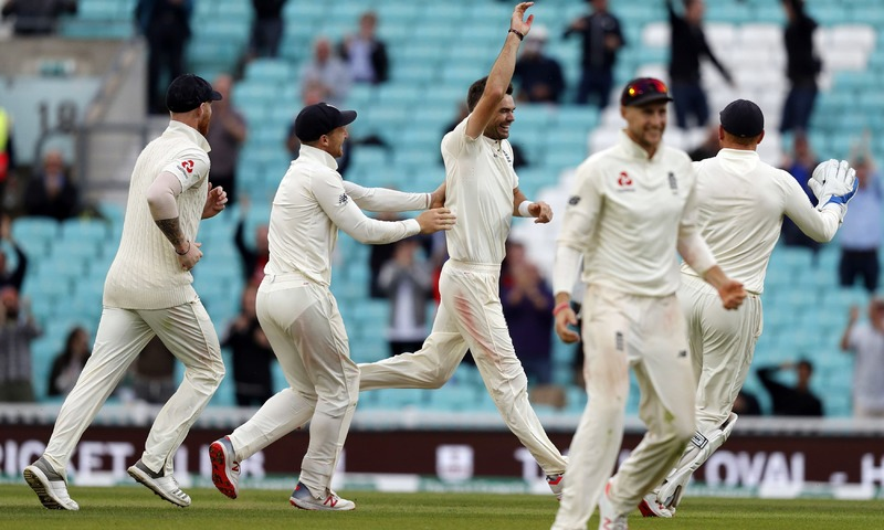 James Anderson celebrates after taking the wicket of Mohammed Shami on the final day of the fifth Test cricket match. —AFP