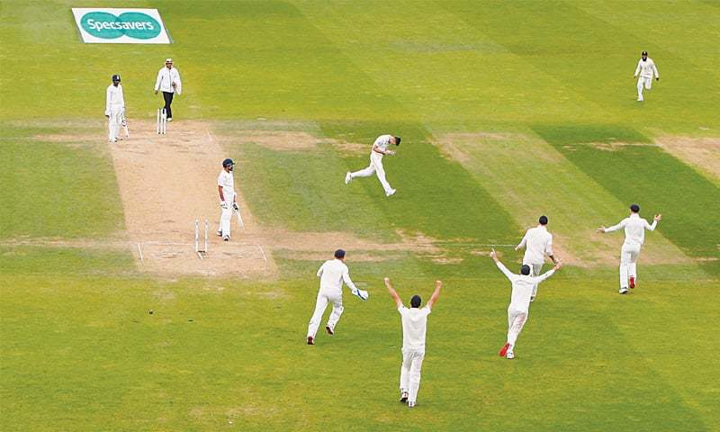 LONDON:  England paceman James Anderson celebrates after cleaning up Indian tailender Mohammed Shami on the last day of the fifth and final Trst at The Oval on Tuesday.—Reuters