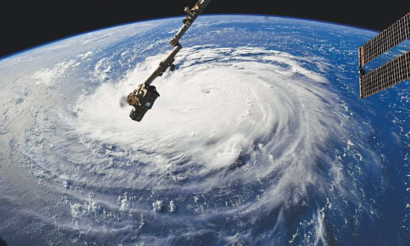 This Nasa handout photo shows a view from the International Space Station of Hurricane Florence off the US east coast.—AFP
