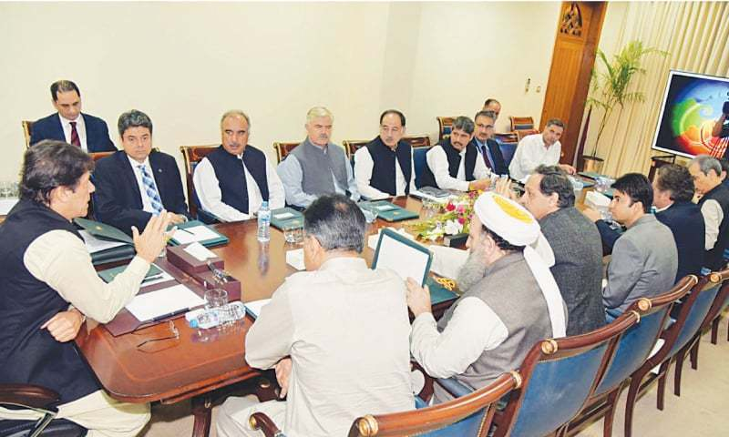 Prime Minister Imran Khan chairs a meeting on tribal areas at the PM Office on Tuesday. — PPI