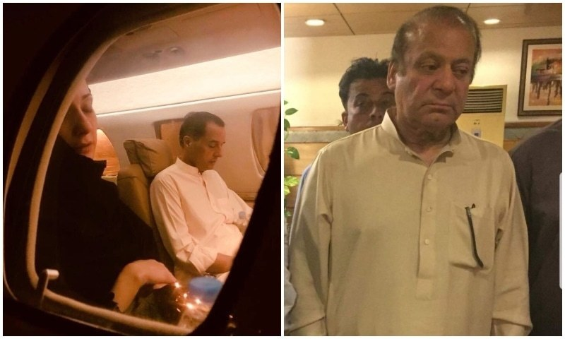 Maryam Nawaz and Capt Safdar (L) are seen on board their flight to Lahore; Nawaz Sharif (R) pictured at Nur Khan airbase after being released from prison on parole. — Photos: PML-N Media Cell