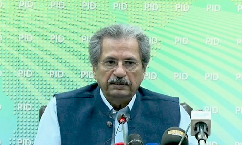 Minister for Education Shafqat Mehmood addresses a press conference on Thursday. — DawnNewsTV