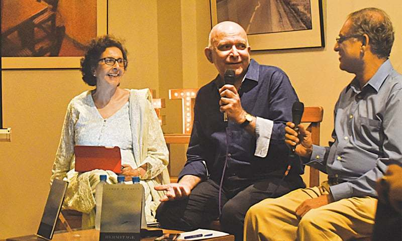 Aamer Hussein (centre), Muneeza Shamsie and Asif Farrukhi discuss the book.—White Star