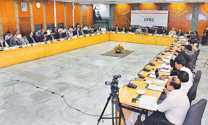Federal Minister for Planning, Development and Reform Makhdoom Khusro Bakhtiar chairs a meeting to review progress of CPEC.—APP