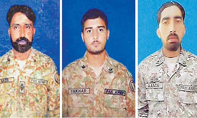 (Left to Right) Naib Subedar Nazir Ahmed Chandio, Sepoy Fakhar and Sepoy Amir.