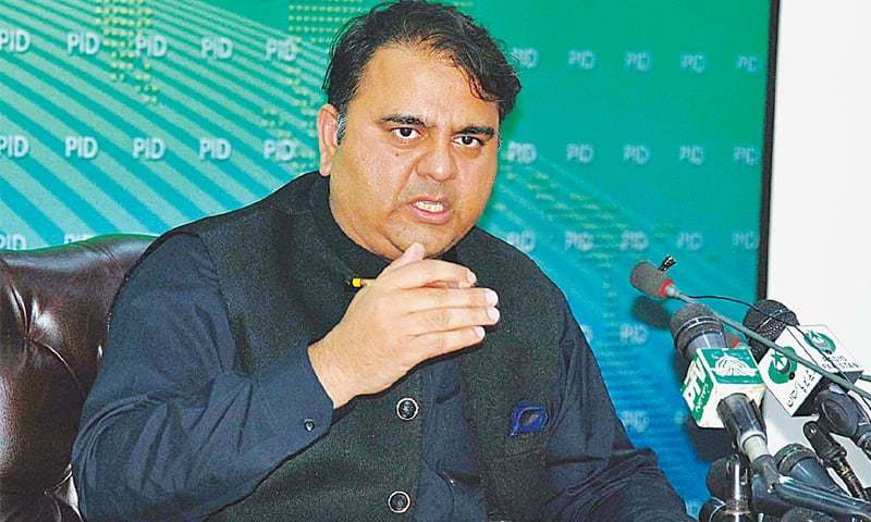 Information Minister Fawad Chaudhry addressing the press conference.—APP