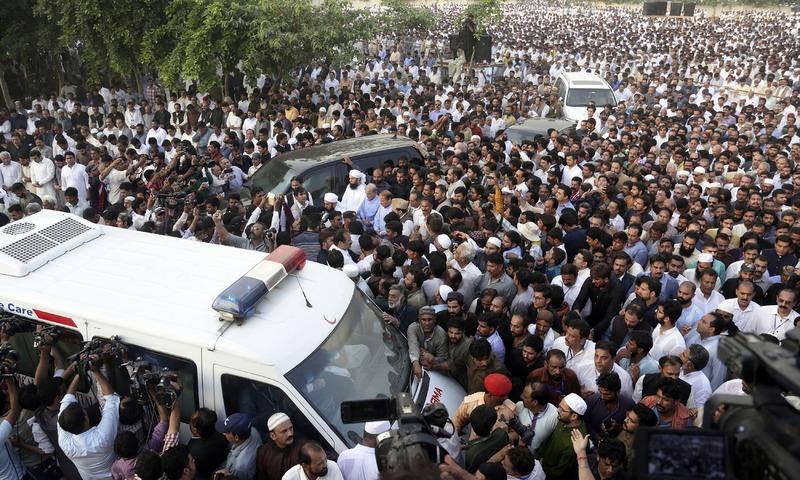 People attend funeral of Kulsoom Nawaz in Lahore. —AP