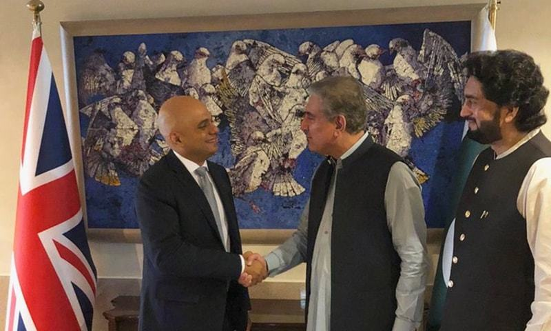 Foreign Minister Shah Mahmood Qureshi meets British Home Secretary Sajid Javid at the Foreign Office. ─ Photo courtesy Dr Muhammad Faisal Twitter