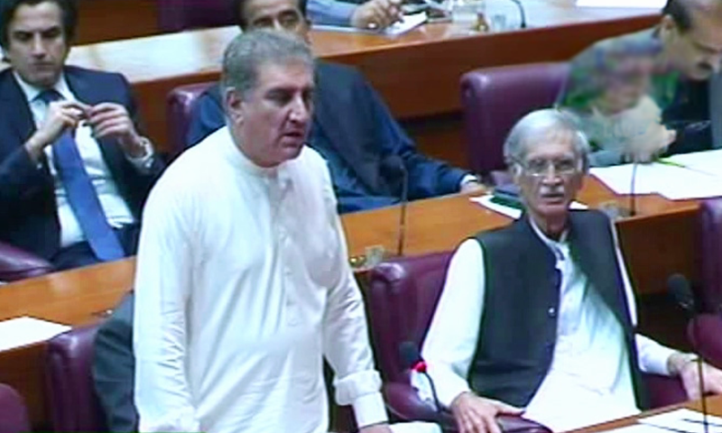 Foreign Minister Shah Mehmood Qureshi speaks during the NA session. — DawnNewsTV