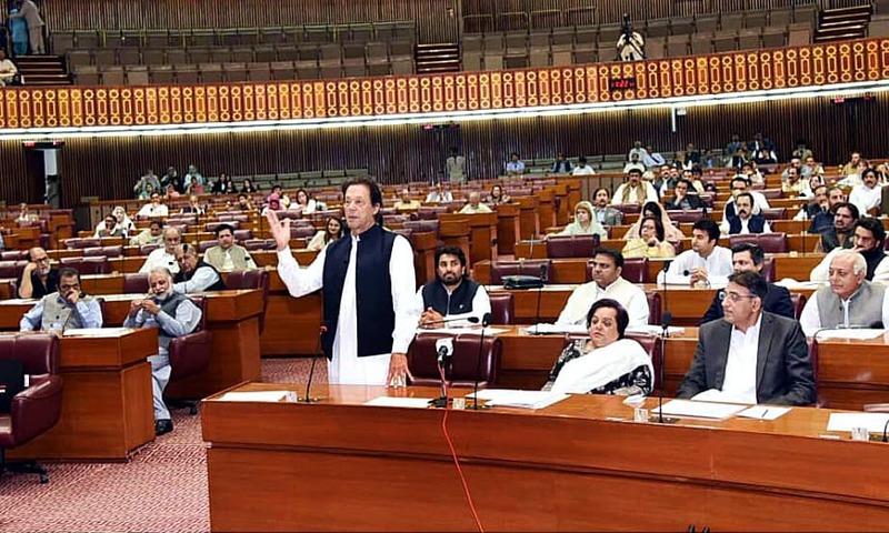 Prime Minister Imran Khan speaking in National Assembly. —APP