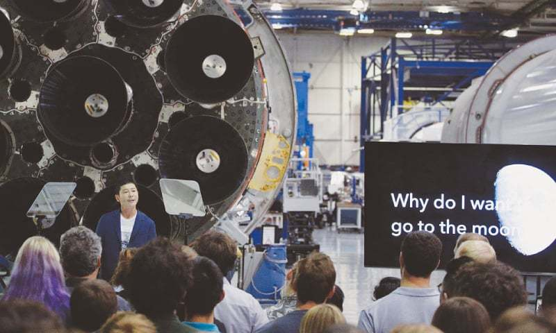 Hawthorne (California, US): Japanese billionaire Yusaku Maezawa speaks after SpaceX founder Elon Musk selected him as the first scheduled private passenger on a trip around the moon.—AP