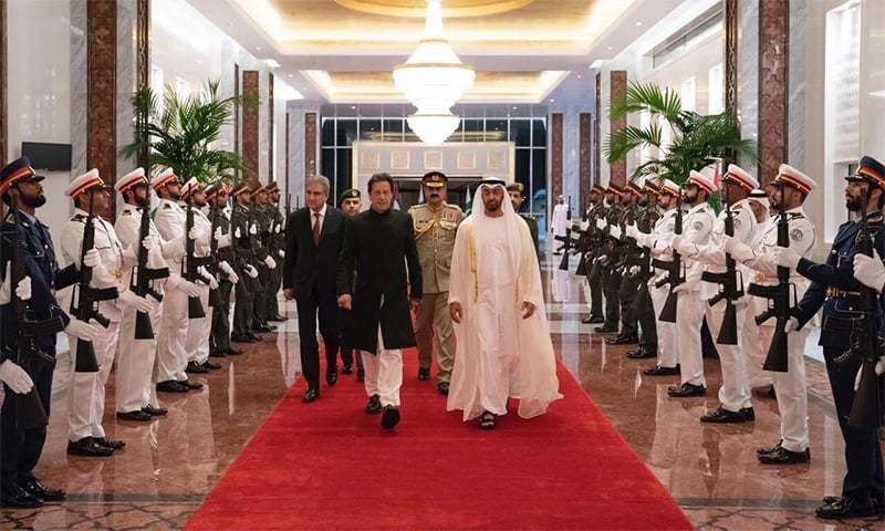PM Khan received at the Abu Dhabi airport by Shaikh Mohammad Bin Zayed Al Nahyan. —Photo courtesy PTI