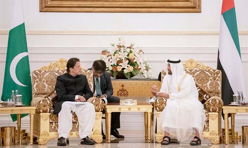 PM Khan in conversation with Shaikh Mohamed bin Zayed. —Photo courtesy Shaikh Mohamed bin Zayed's Twitter account