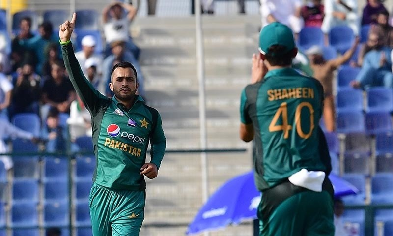 Mohammad Nawaz (L) celebrates after he dismissed Afghan batsman Ihsanullah — AFP