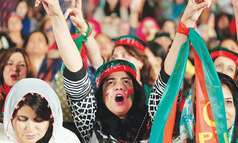 Supporters at a PTI rally | File photo