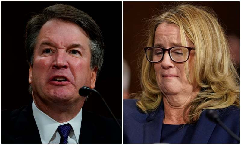 (L-R): US President Donald Trump's nominee for the Supreme Court, Brett Kavanaugh, mid-testimony; California psychology professor who accused Kavanaugh of sexual assault, Christine Blasey Ford, tears up during her testimony. ─ AFP/AP