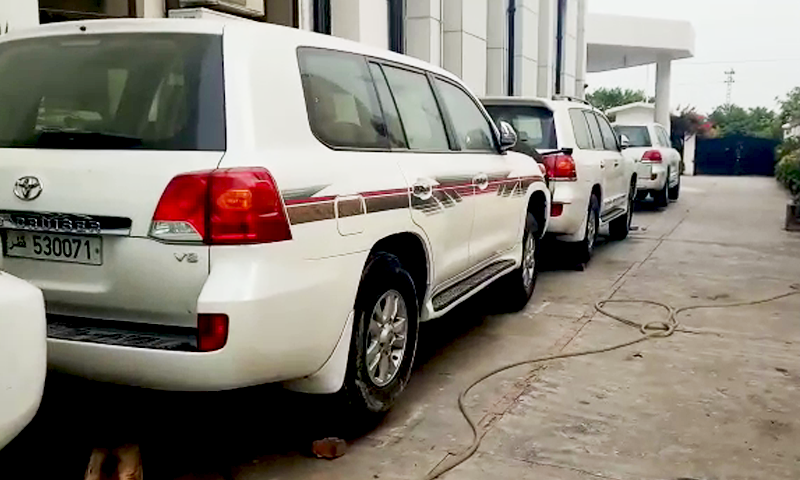 The luxury vehicles recovered by authorities in Islamabad.