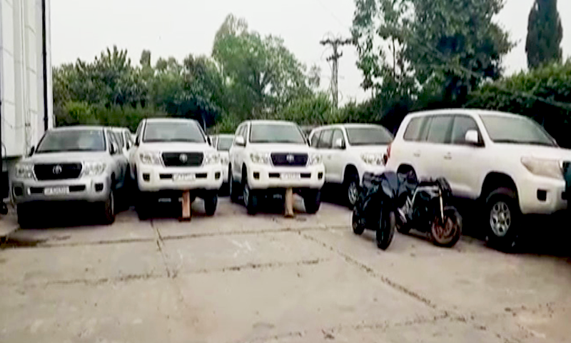 12 vehicles were recovered by the  authorities from the premises of a warehouse in Islamabad. —DawnNewsTV