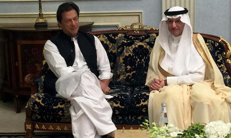 OIC Secretary General discusses with Prime Minister Imran Khan the issues faced by the Islamic world during a meeting in Jeddah. —Photo courtesy OIC website