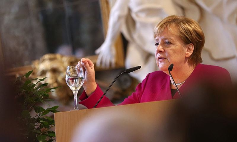German Chancellor Angela Merkel gives a speech at the Benedictine abbey in Ottobeuren, southern Germany. —AFP