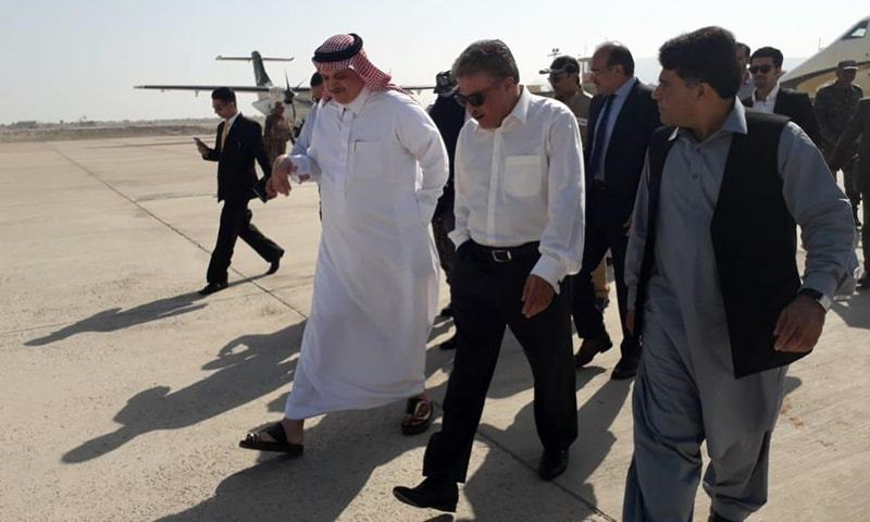 Saudi officials are received by government officials in Gwadar. — Photo: press release