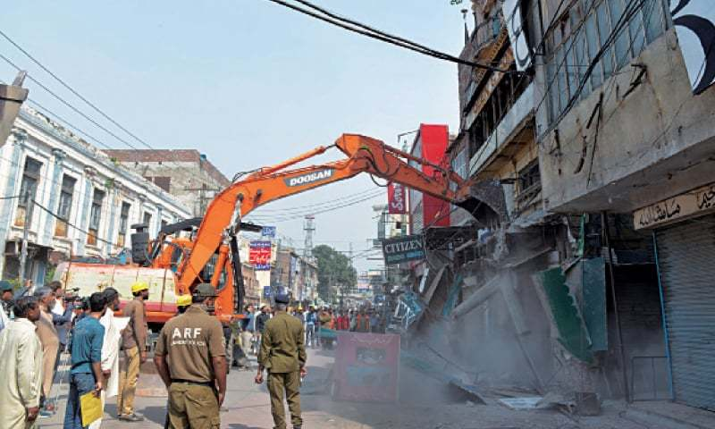 Anti-encroachment operation in Anarkali Bazaar. — White Star