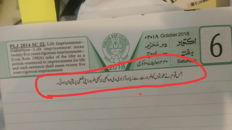 """Images reached out to Executive Chairperson of the Punjab Bar Council Advocate Bushra Qamar, who called the quote in the diary """"propaganda."""""""