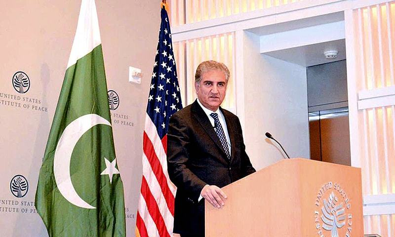 Foreign Minister Shah Mahmood Qureshi addresses an audience at the US Institute of Peace in Washington. — APP