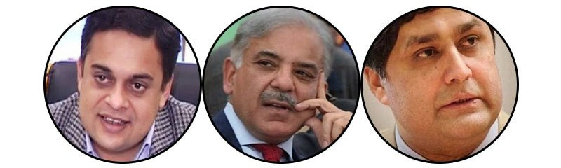Ahad Cheema (left), Shahbaz Sharif (centre) and Fawad Hasan Fawad (right).