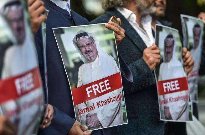 Protesters gather in Istanbul to demand the whereabouts of Jamal Khashoggi. — AFP