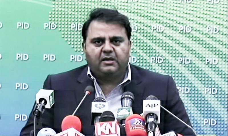 Minister for Information and Broadcasting Fawad Chaudhry addressing a press conference. —DawnNewsTV