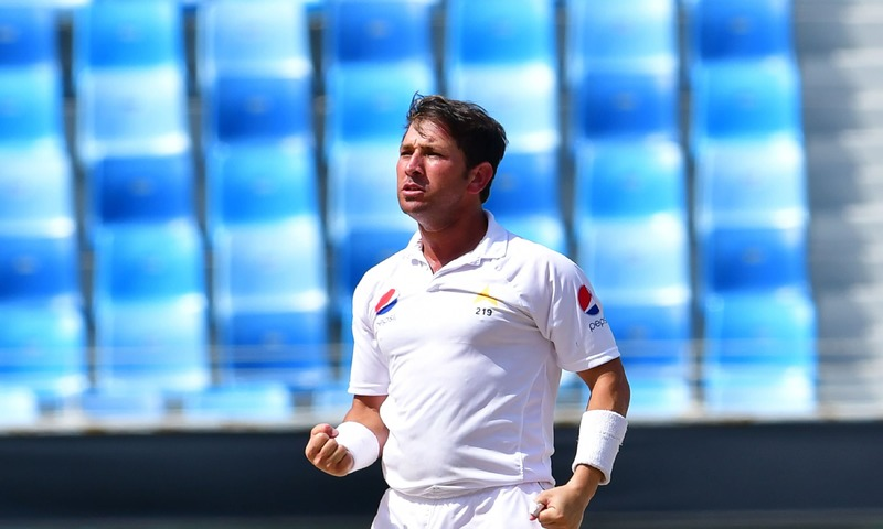 Yasir Shah celebrates after he dismissed Australian Marnus Labuschagne — AFP
