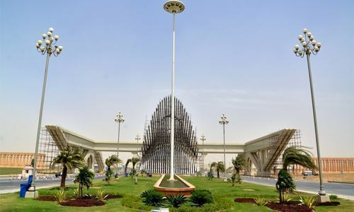 The file photo shows the entrance of Bahria Town Karachi. — Dawn/File