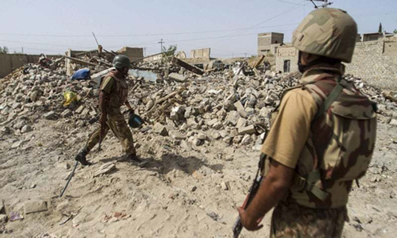 Soldiers on a routine search operation in South Waziristan. —File photo