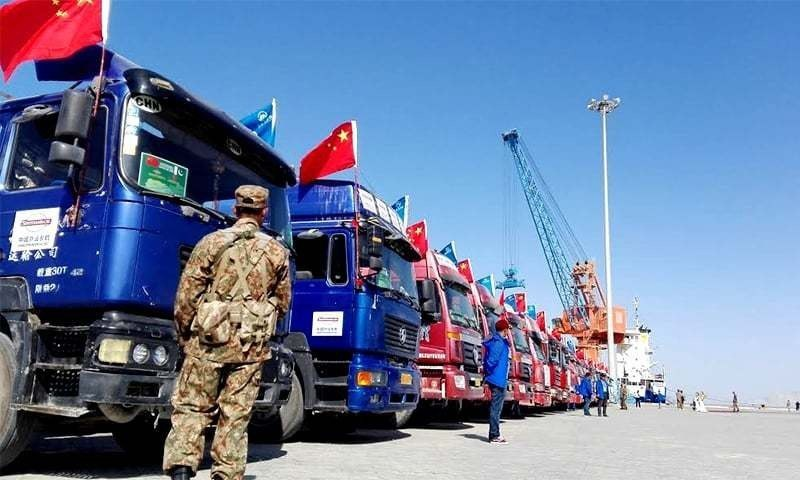 A convoy of trucks pictured near Gwadar port. ─ Photo by Khurram Husain