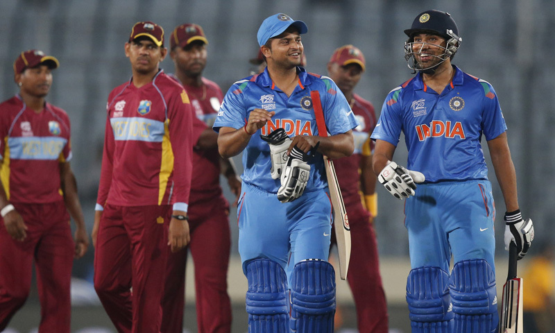 A file photo of the Indian and West Indies cricket teams.