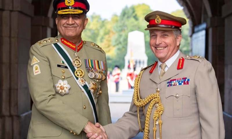 Chief of the Army Staff (COAS) Gen Qamar Javed Bajwa held meetings with top civil-military officials from the United Kingdom during a visit to the country. — Photo courtesy of DG ISPR Twitter