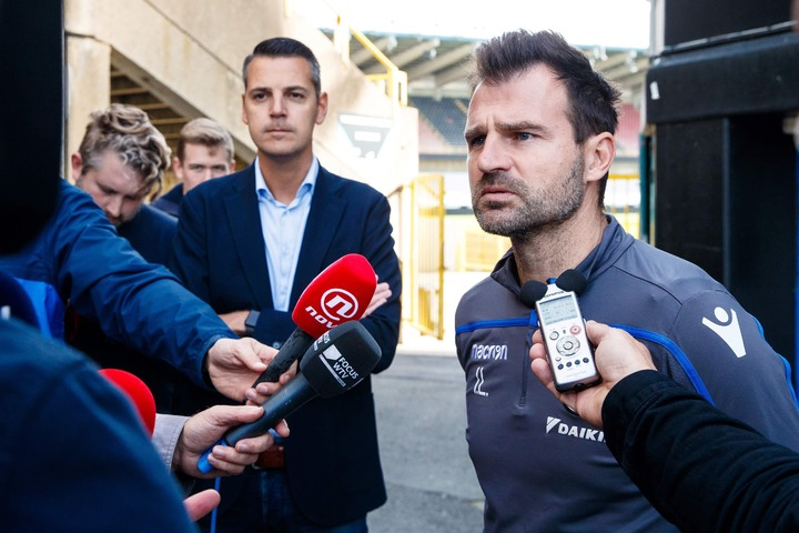 Club Brugge's head coach Ivan Leko talks to the press after a training session of Belgian football team Club Brugge, on October 12, 2018, in Brugge. —AFP