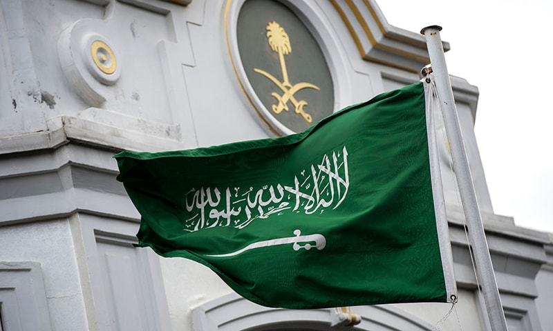 A Saudi Arabia flag flies in front of the Saudi consulate in Istanbul on October 13, 2018. —AFP
